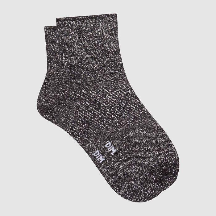 Calcetines bajos para mujer de algodón peinado total lurex negro Coton Style, , DIM