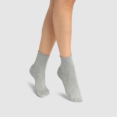 Calcetines bajos para mujer de algodón peinado total lurex gris claro Coton Style, , DIM