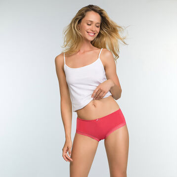 Culotte de microfibra rosa chicle Micro Lace Bar à Culottes, , DIM