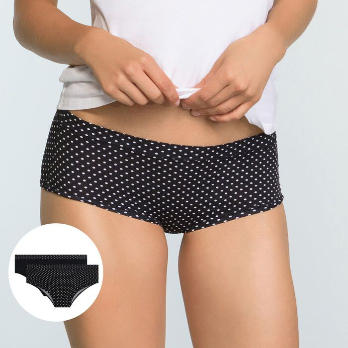 Pack de 2 culottes negro plumetis y negro lisa Body Mouv , , DIM