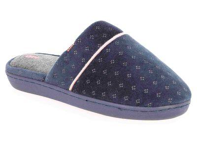 Chaussons type pantoufles bleu marine intérieur gris Femme-DIM