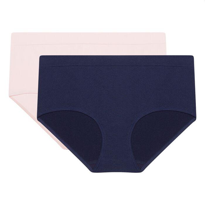 Pack de 2 culottes de microfibra sin costuras azul/rosa Les Pockets EcoDim , , DIM
