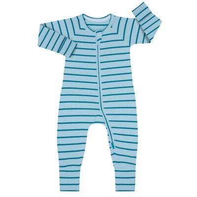 Pijama con cremallera de algodón de rayas azules y verdes, , DIM