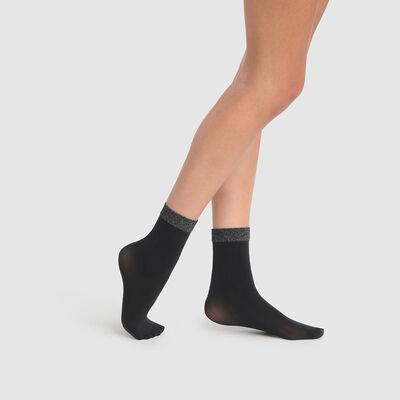 Calcetines bajos con ribete de lúrex negro y plateado DIM x  Ba&sh, , DIM