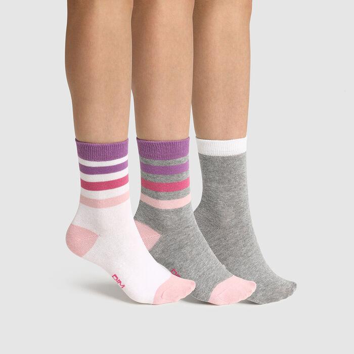 Pack de 3 pares de calcetines para niña de rayas rosa gris Coton Style, , DIM