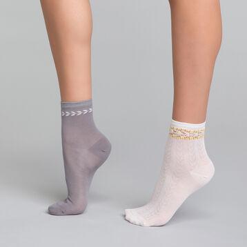Pack de 2 pares de calcetines con efecto bordado gris y blanco - Dim Coton Style, , DIM