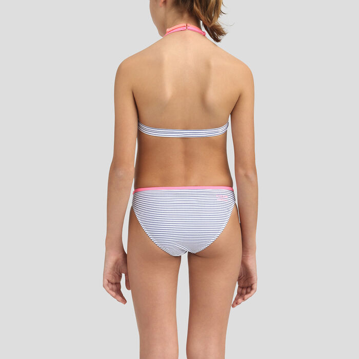 Bikini para niña de rayas azul y blanco Dim, , DIM
