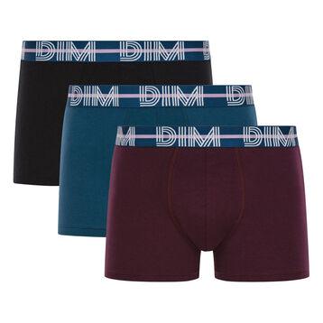 Pack de 3 bóxers azul, negro y berenjena algodón elástico - Dim Powerful, , DIM