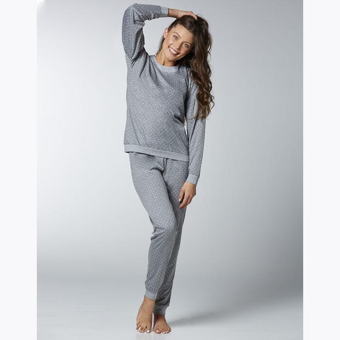 Conjunto de pijama de lunares grises para mujer, , DIM