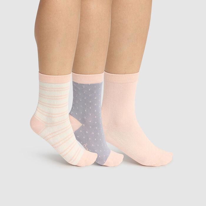 Pack de 3 pares de calcetines de lunares y líneas marfil Kids Coton Style, , DIM
