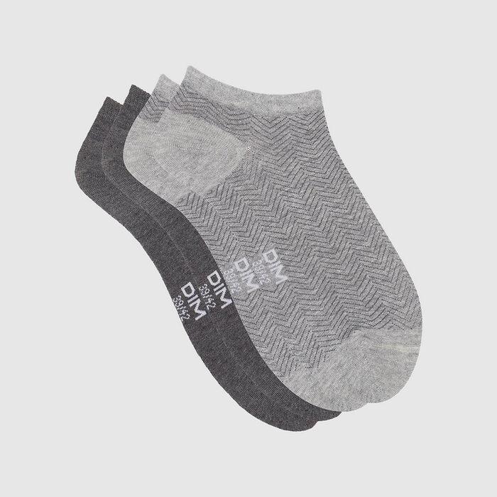 Pack de 2 pares de calcetines bajos estampado cabra gris Coton Style, , DIM