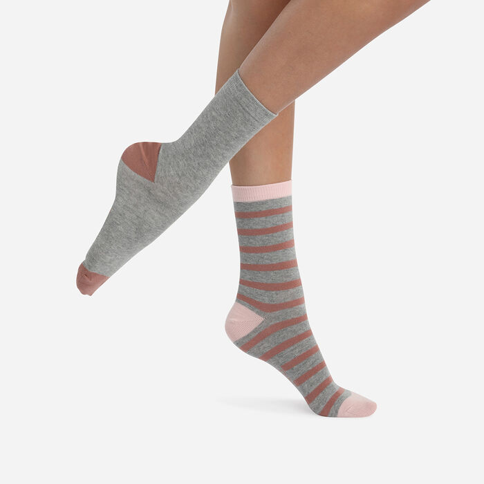 Juego de 2 pares de calcetines de mujer de rayas Palo de Rosa Coton Style, , DIM