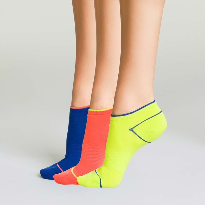 Pack de 3 pares de calcetines bajos de deporte fluor coral, amarillo y azul, , DIM