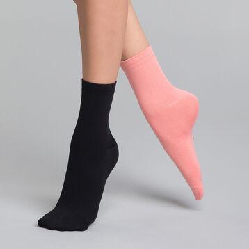 Pack de 2 pares de calcetines de mujer negros y rosas - Skin, , DIM