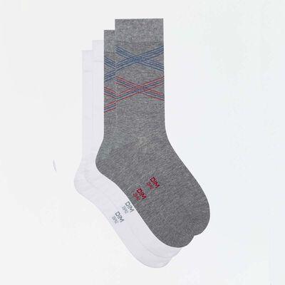 Pack de 2 pares de calcetines grises hombre estampado líneas Coton Style, , DIM