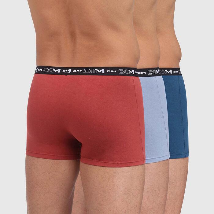 Pack de 3 bóxers de algodón elástico azules y rojo Coton Stretch, , DIM