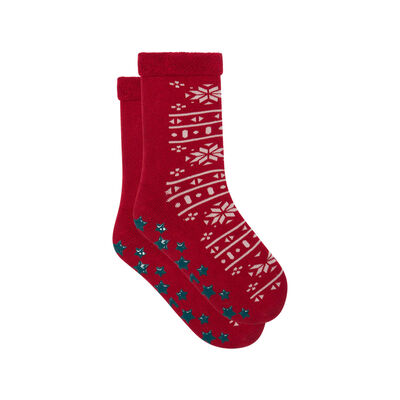 Calcetines para niños antideslizantes copos de nieve rojo Kids Cocoon, , DIM