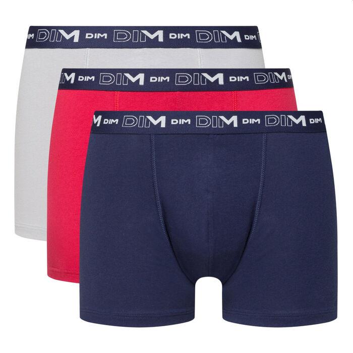 Pack de 3 bóxers para hombre azul rojo y acero Coton Stretch, , DIM