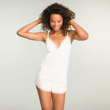 Camiseta de pijama marfil de algodón modal Softly Line, , DIM