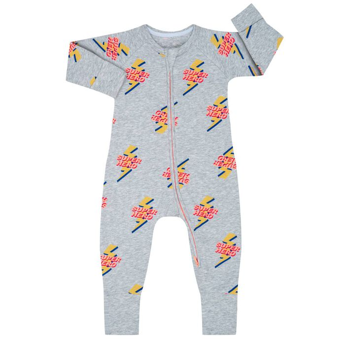Pijama con cremallera de algodón elástico estampado Súper Héroe, , DIM