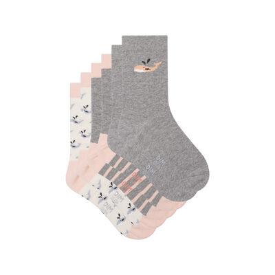 Pack de 3 pares de calcetines estampado ballena naranja Kids Coton Style, , DIM