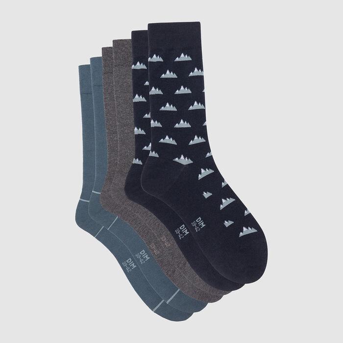 Pack de 3 pares de calcetines para hombre estampado montañero azul Coton Style, , DIM