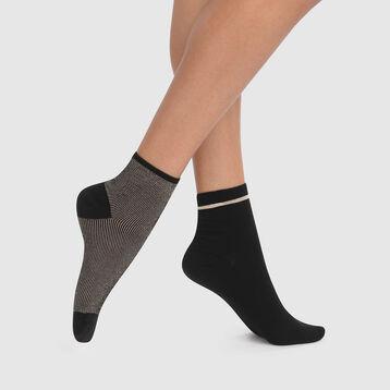 Pack de 2 pares de calcetines fantasía de lurex negros y dorados Coton Style, , DIM