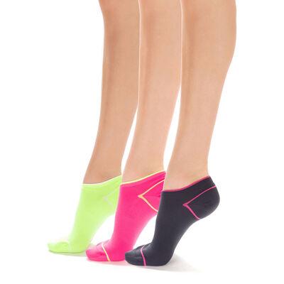 Lot de 3 socquettes de sport rose, gris et jaune Femme-DIM
