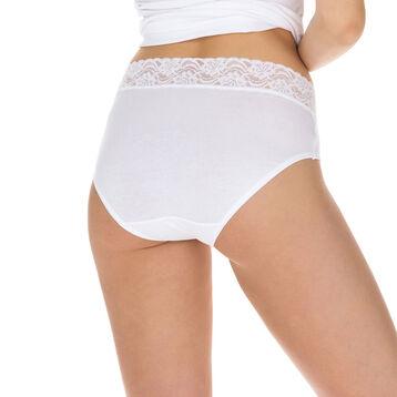 Lot de 2 slips blancs Coton Plus Féminine taille haute-DIM