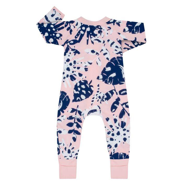Pijama con cremallera de algodón elástico rosa estampado tropical, , DIM