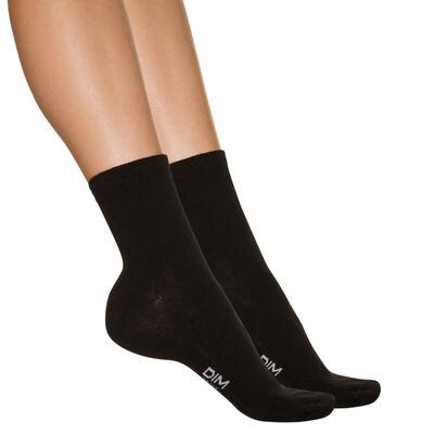 Lote de 2 pares de calcetines bajos negros para mujer, , DIM