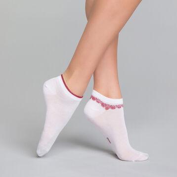 Pack de 2 pares de calcetines bajos fantasía blancos con tobillera - Dim Coton Style, , DIM