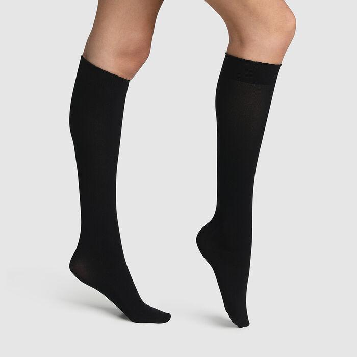 Calcetines bajos negros de microfibra Spécial Boots, , DIM