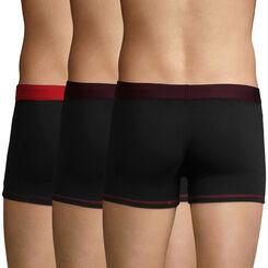 Pack de 3 bóxers de algodón elástico negro, berenjena y rojo Mix and Colors , , DIM