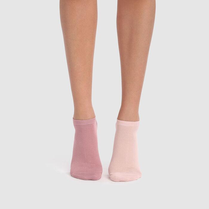 Pack de 2 pares de calcetines tobilleros de algodón rosas Basic Coton, , DIM