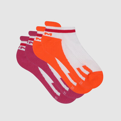 Pack de 2 pares de calcetines bajos para niña retro rosa coral Dim Sport, , DIM
