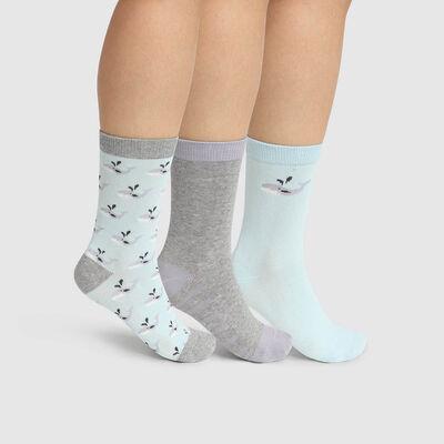 Pack de 3 pares de calcetines estampado ballena gris Kids Coton Style, , DIM