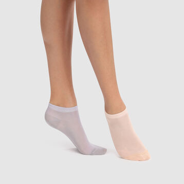 Pack de 2 pares de calcetines tobilleros de algodón rosas y grises Light Coton, , DIM