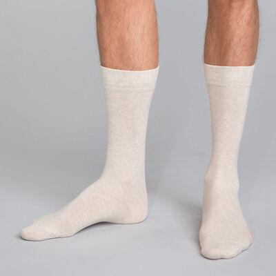 Calcetines altos de algodón peinado beige jaspeado para hombre Colorama, , DIM