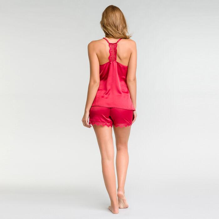 Camiseta de pijama de tirantes satén con encaje fucsia - Glamour, , DIM