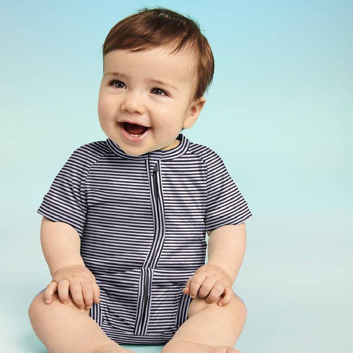 Pijama de manga corta de algodón elástico de rayas grises y blancas, , DIM