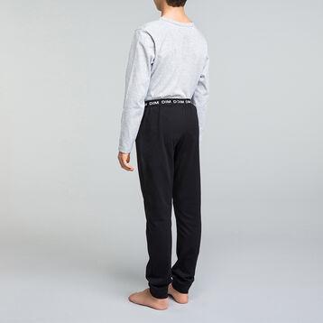 Pijama largo de niño100% algodón gris y negro - Nuit Comic, , DIM
