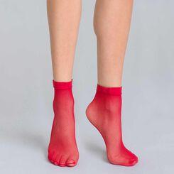 Socquettes résille rouge intense Style-DIM