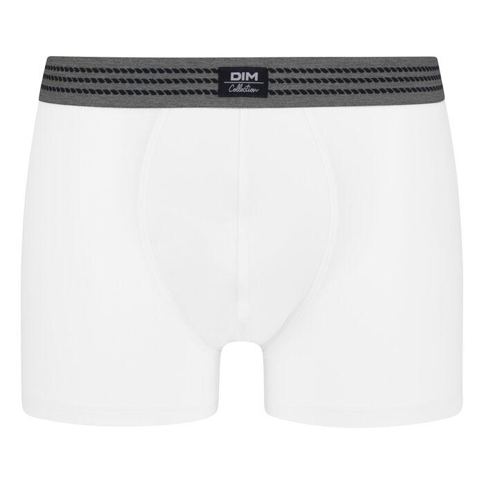 Bóxer para hombre de algodón elástico blanco con cintura gris Dim Élégant, , DIM