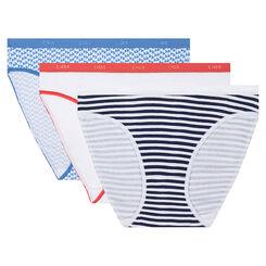 Pack de 3 braguitas estampadas Costa Azul Les Pockets Coton Stretch de Dim, , DIM