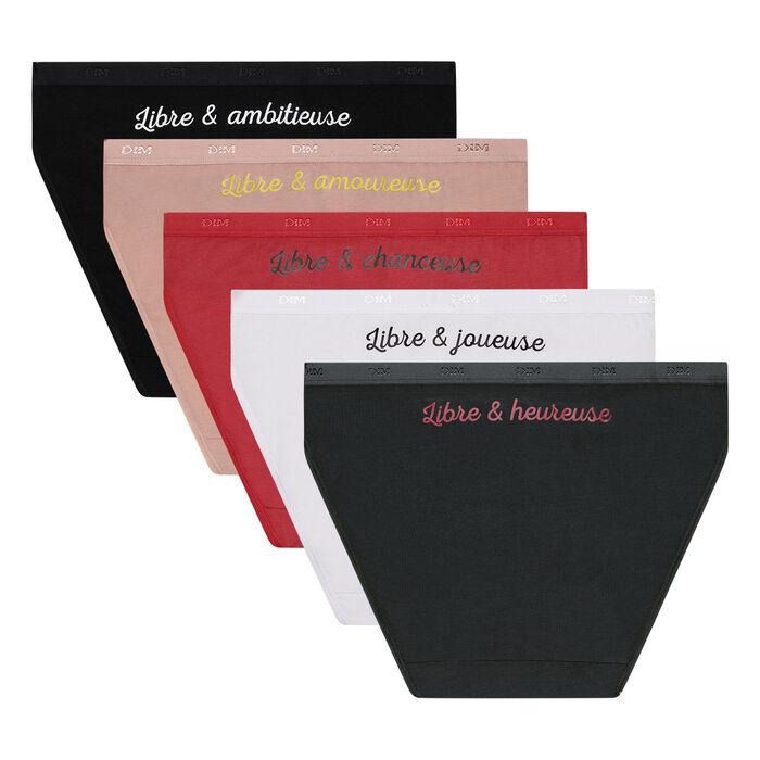Pack de 5 braguitas de algodón elástico edición 30 años Les Pockets de Dim, , DIM
