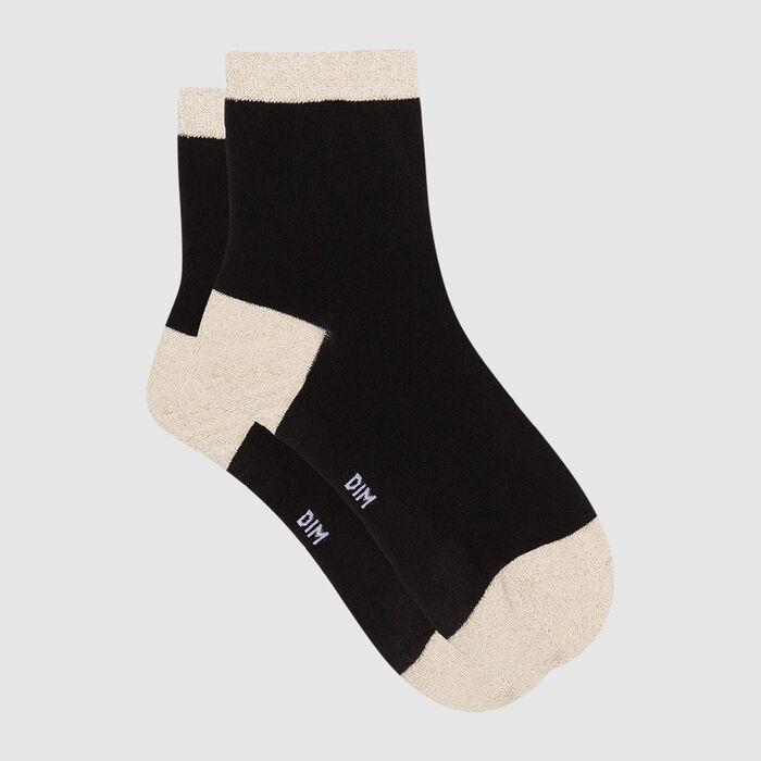 Calcetines bajos negros para mujer de algodón peinado y lurex dorado Coton Style, , DIM
