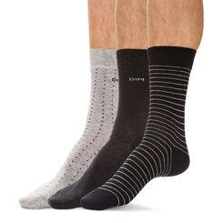 Lot de 3 chaussettes noires et anthracite pois rayures Homme-DIM