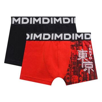 Pack de 2 bóxers niño negro y rojo estampados - Box Japon, , DIM
