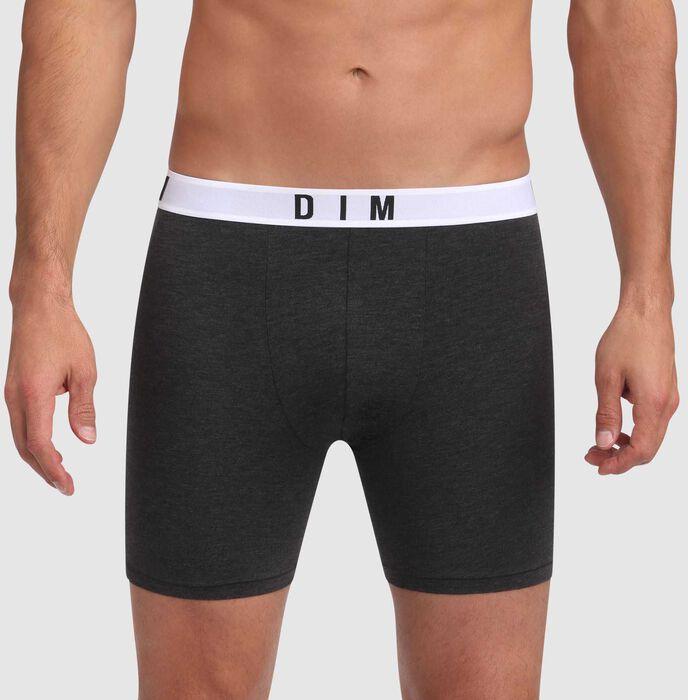 Bóxer largo gris oscuro de algodón modal con cintura gris Dim Originals, , DIM